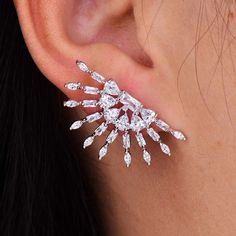 Open circle burst diamond wedding earrings. elegant Diamond Art Deco ear cuff formal occasion jewelry silver ear cuffs bridal Set of 2. 18k white gold Zirconia Diamonds one pair earrings MADE TO ORDER: please Allow two weeks production time www.BodyKandyCouture.com | Shop this product here
