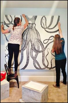 Create an awesome wall art on a budget using shower curtains!