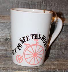 16 ounce White Coffee mug  Coral and by threepaintedarrows on Etsy