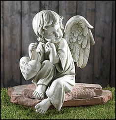 Until We Meet Again Memorial Angel Holding Heart Grave site Statue – Beattitudes Religious Gifts $31.30