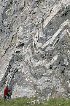 Strong folding in garnet gneiss, Hammerfest, Norway by Robert Harding