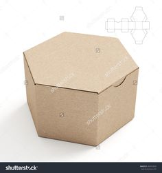 Closed Hexagonal Cardboard Box Box With Die Cut Template On White Background Stock Photo 284553692 : Shutterstock
