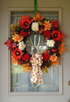 Large Floral Fall Wreath for Front Door, Farmhouse Wreath, Autumn Foliage Wreath, Fall Porch Decor, Sunflower Wreath, Fall Decoration, Gift