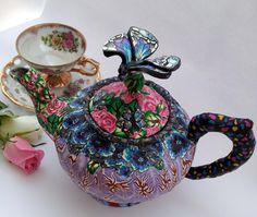 Teapot covered in polymer clay