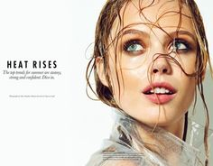 Who What Wear Blog Heat Rises Summer Beauty Looks Editorial Elle Canada Frida Gustavsson Photographer Max Abadian Beauty by Vanessa Craft Fresh Face Wet Hair Copper Eyes Thick Mascara Rose Lips Lipstick Clear Rain Coat Trench