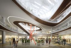 Silkroad rendering for shopping mall interior with beautiful illumination Hotel Lobby Design, Mall Design, Retail Design, Shoping Mall, Shopping Mall Interior, Atrium Design, Retail Facade, Public Space Design, Medical Office Design