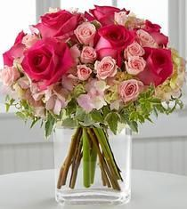 Just For You - an array of pink roses, big and small, on top of hydrangea and surrounded by pink alstro