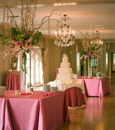 ELEGANT BUFFET ARRANGEMENTS WITH CURLY WILLOW AND HANGING ORCHIDS