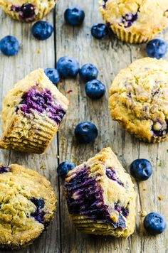 If you like those gigantic coffee shop muffins, you're gonna love these Vegan Coconut Blueberry Muffins! Lighter, satisfying and made with clean ingredients (and much smaller, too! Vegan Breakfast Recipes, Vegan Desserts, Vegan Recipes, Dessert Recipes, Vegan Sweets, Healthy Sweets, Brunch Recipes, Vegan Blueberry, Blueberry Recipes