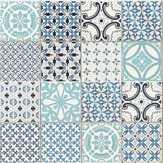 Set of two wall deco tiles inspired in hydraulic tiles and showing rich finishes…