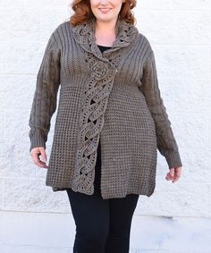Look what I found on #zulily! Taupe Crochet Textured Wool-Blend Cardigan - Plus #zulilyfinds