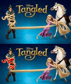 """The hair tied around the prince for this Tangled advertisement spells """"Sex"""""""