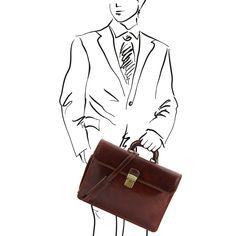 Parma - Leather briefcase 2 compartments - TL10018 – Rehana.co