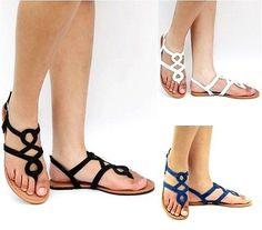 New Women TFA Black Blue White Gladiator Strappy Thong Flat Sandal Sz 5 to  10  8bee5842610b