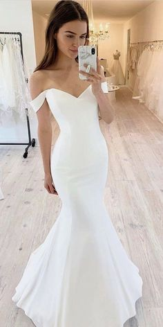 Simple Wedding Dress, Mermaid Wedding Dress, Off Shoulder Wedding Dress sold by . Simple Wedding Dress, Mermaid Wedding Dress, Off Shoulder Wedding Dress sold by joepaldress on Storenvy Top Wedding Dresses, Fit And Flare Wedding Dress, Cute Wedding Dress, Wedding Dress Trends, Bridal Dresses, Bridesmaid Dresses, Wedding Bride, Wedding Ideas, Wedding Hacks