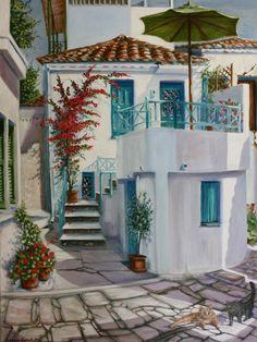 Yvonne Ayoub - Skiathos Townhouse - Artists & Illustrators - Original art for sale direct from the artist