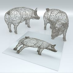 Photo listed in Fine Art 34 shares, 83 likes and 4797 views. Wire Mesh, Creative Crafts, Pigs, Lion Sculpture, Fine Art, Statue, 3d, Color, Colour