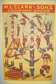 vintage circus posters | Vintage Circus Acrobat Poster Reproduction by find4you on Etsy