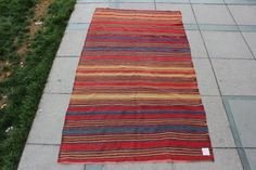 """antique Turkish kilim rug   tapestry, muted colors,  Striped Plain rug  Oushak  Rugs % 100 Natural Wool  Rug 8'x4'7"""" / 245x140cm"""