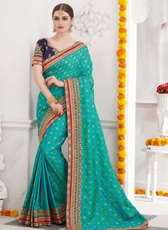 For the absolutely glamorous look, go for this silky turquoise Party Wear Sarees Online, Wedding Sarees Online, Party Sarees, Saree Wedding, New Saree Designs, Blouse Designs, Indian Dresses, Indian Outfits, Indian Clothes