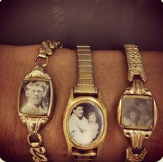 vintage watch faces...made into photo bracelets