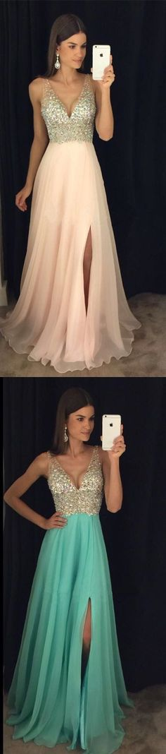 Mint Chiffon A-Line Long Prom Dress,Champagne Beaded Top Low V-Neck Party Dress,Mint Chiffon Side Slit Prom Dress, Formal Gown With Deep V Bare Back