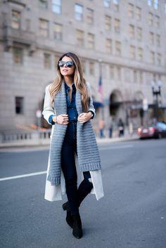 Pam Hetlinger wearing denim on denim, 7 for all mankind denim shirt, topshop denim, forever 21 grey coat and grey knit scarf.