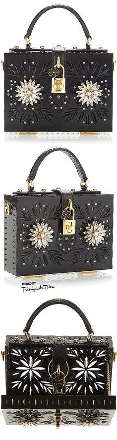 Dolce & Gabbana Fall 2015 Black Embellished Plexi Mini Dolce Bag ♔THD♔