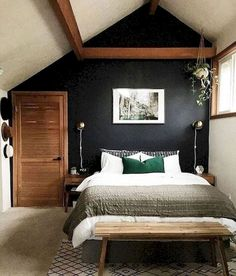 10 Small Bedroom Renovation & Makeover Concepts – Homestya bedroom inspirations 10 Small Bedroom Renovation & Makeover Ideas (That Will Make It Bigger) - Simphome Bedroom Colors, Home Decor Bedroom, Bedroom Ideas, Bedroom Furniture, Fall Bedroom, Small Bedrooms Decor, Small Bedroom Inspiration, Dark Home Decor, Bedroom Rugs