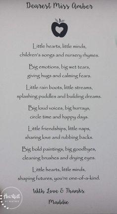Preschool Teacher Thank You Gift Daycare Provider Poem Shadowbox Frame Custom Poetry Kindergarten Te