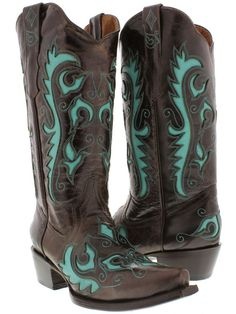 womens cowboy boots ladies Brown Turquoise leather western biker rodeo lane #CowboyProfessional #CowboyWestern