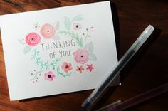 Watercolor Floral Think of You Cards | Set of 6 | Roses and Daisies | Thinking of You, Stationary, Greeting Cards, Illustration, Design
