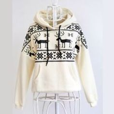 New vintage white warm deer fawn hooded sweater winter