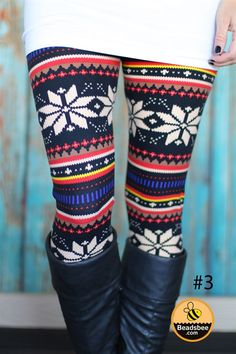 Get ready to make heads and get your Winter wardrobe started with our new  print leggings! We love these worn with a solid top or  sweater and our favorite boots, for an easy and fashionable outfit  all season long. Available in multiple styles, there are  sure to be one (or two) pairs that you won't want to miss out on! These  are a one size fits most (0-12 comfortably) Leggings are a Poly/Spandex blend (you are going to love the way these fee...