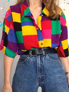 Aesthetic clothes - Old Fashion Geometric patterns Coloring Long Sleeve Shirt nicolemove com – Aesthetic clothes Indie Outfits, Retro Outfits, Cute Casual Outfits, Fashion Outfits, 80s Inspired Outfits, 80s Style Outfits, Women's Casual, 90s Style, Grunge Outfits