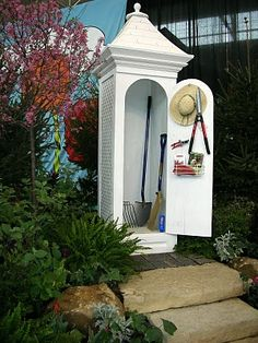A garden shed that would be great to use as posts for a picket fence with a gate between two