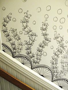 detail of a staircase wall zentangle project. I would totally do this as part of a farmhouse reno. those old walls are usually uneven plaster and this is more creative than wall paper...(from bumblebat at http://us1.campaign-archive2.com/)