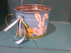 Bunny Personalized & Hand Painted Easter Pail by thechickadeeandme, $25.00