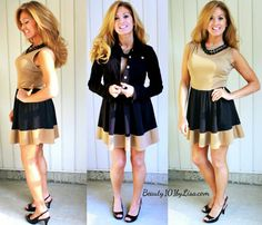 Black & Tan Skater Dress with Black Denim Jacket - Click on PIN to see Outfit Details.  #skaterdress #colorblock #denimjacket #beauty101bylisa #styletoinspire