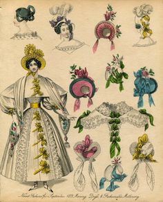 Victorian Fashion Plate Hand Coloured Bookplate Color Vintage Print Circa 1800 Hats Dresses Costumes Dress Morning Millinery Dress via Etsy 1800s Fashion, Victorian Fashion, Vintage Fashion, Historical Costume, Historical Clothing, Belle Epoque, Vintage Dresses, Vintage Outfits, 233