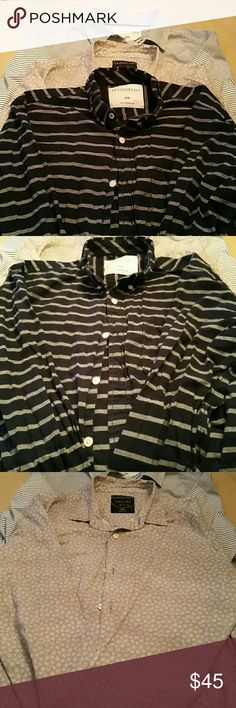 3 Long Sleeve Medium Men Button Shirts I WELCOME OFFERS!!!  What you get.....  2- Aeropostale Men Long Sleeve Shirts 1- Brooklyn Calling Long Sleeve Shirt  Retailed at $34 each.  Good Condition Aeropostale Shirts Casual Button Down Shirts