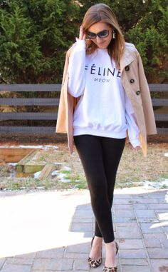 TiffanyD: Feline sweatshirt OOTD. I just LOVE Tiffany. Great style. Always classy.