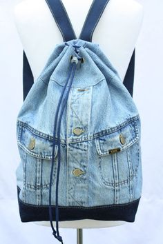 denim backpack repurposed jean jacket big by UpcycledDenimShop