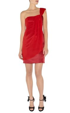 Karen Millen Contrast Fabric Dress Red