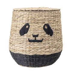 Unique Kids Black Panda Face Rattan Basket w/Lid Decorative Storage Organizer Toy Basket, Rattan Basket, Wicker, Charlie Crane, Storage Baskets With Lids, Kids Room Accessories, Create An Animal, Linen Baskets, Kid Toy Storage