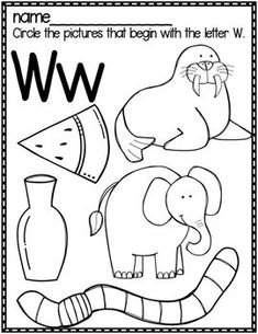 Letter W by Bobbi Bates Letter W Worksheets, Letter W Activities, Kindergarten Writing Activities, Printable Preschool Worksheets, Letter A Crafts, Nursery Worksheets, Alphabet Writing, Learning The Alphabet, Alphabet Sounds