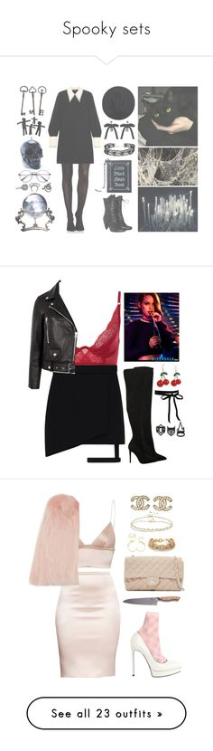 """Spooky sets"" by queen-of-disasterxxi ❤ liked on Polyvore featuring SPANX, Miu Miu, Current Mood, ASOS, Dsquared2, GET LOST, Rachel, Killstar, Valentino and Halloween"