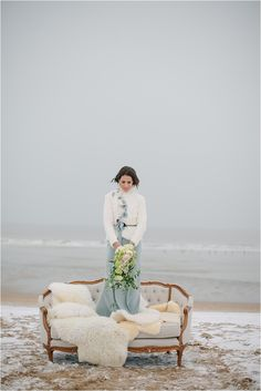 Beautiful winter bride wears a blue wedding dress and a luxurious white coat to keep her warm. Beach Wedding Inspiration, Wedding Photography Inspiration, Photography Ideas, Wedding Ideas, Winter Beach Weddings, Wedding Portraits, Wedding Photos, Winter Bride, Winter Wonderland Wedding