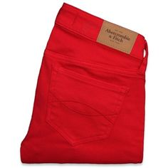 Abercrombie & Fitch A&F Jeggings ($30) ❤ liked on Polyvore featuring pants, jeans, bottoms, pants/shorts, cotton pants, red cotton pants, vintage pants, red pants and vintage trousers