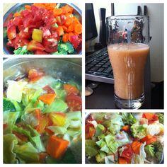Detox juice 해독쥬스  : 양배추 + 브로콜리 + 토마토 + 당근을 삶은물과 함께 갈아마시기   Cabbage + Brocolli + Tomato + Carrot > Boil > Blend